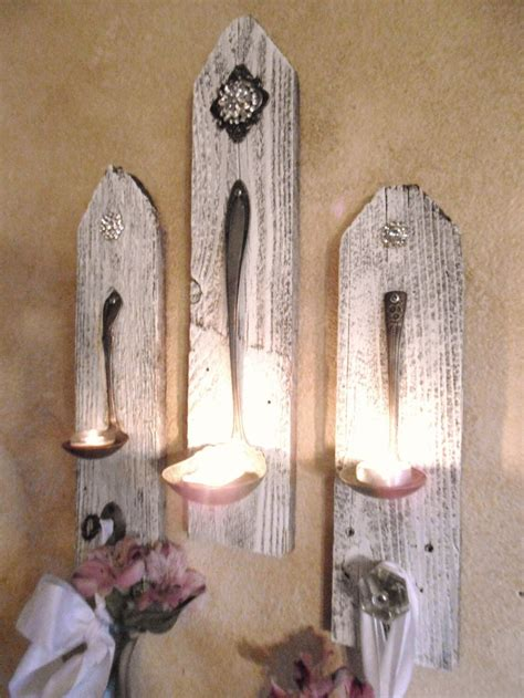 3 shabby chic hanging candle holders silver plate ladle