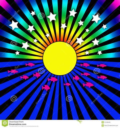 Rainbow White Syar I psychedelic sun rays and stock illustration image