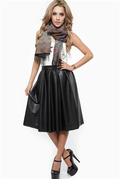 faux leather midi skirt dress