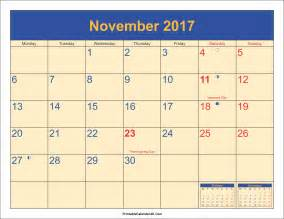 november 2017 calendar with holidays weekly calendar