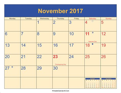 november 2017 calendar with holidays printable 2017