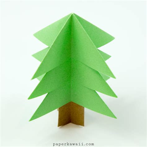 Origami Chrismas - easy origami tree tutorial paper kawaii