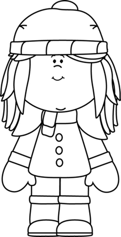 girl winter coloring page black and white winter girl clip art black and white