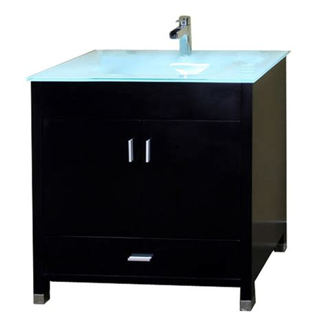Bathroom Vanity With Sink Top with Shop Bellaterra Home Black Integrated Single Sink Bathroom Vanity With Tempered Glass And Glass