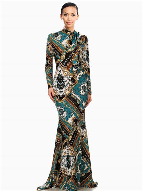 Top Five Print Maxi Dresses by Chain Link Baroque Print Mermaid Maxi Dress Modishonline