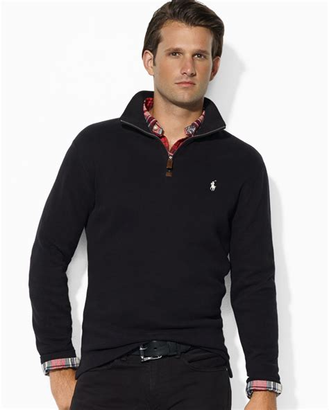 Hoodie Jumper Polos Black Jmp3 ralph polo frenchrib halfzip mockneck pullover sweater in black for lyst