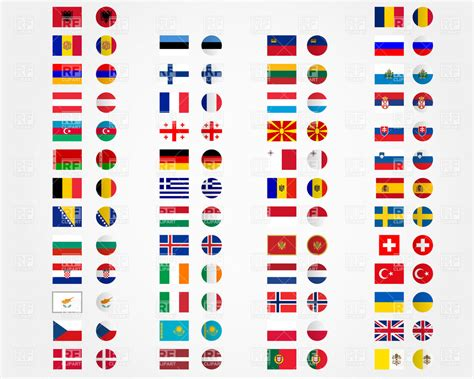 flags of the world eps free download europe and asia flags and buttons royalty free vector clip