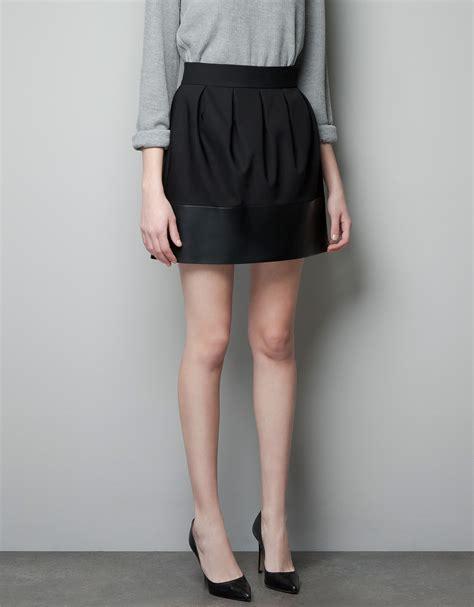 zara faux leather combination skirt in black lyst