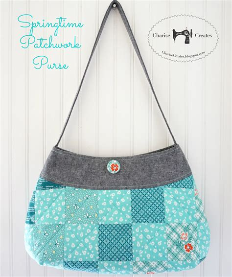 Free Patchwork Patterns For Bags - charise creates springtime patchwork purse pattern