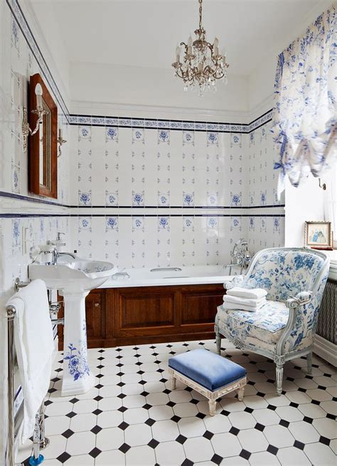 white and blue tiles in bathroom bathroom tiles blue and white