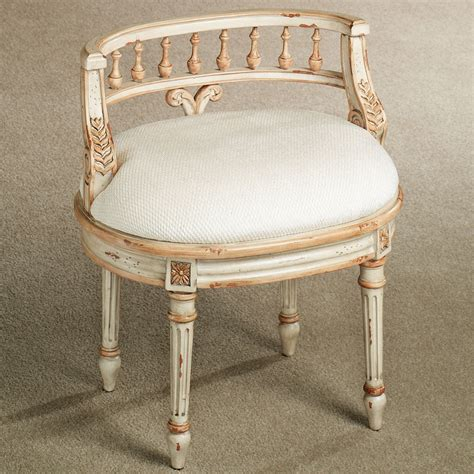 queensley upholstered antique ivory vanity chair