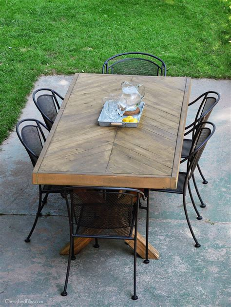 diy outdoor table legs outdoor table with x leg and herringbone top free plans