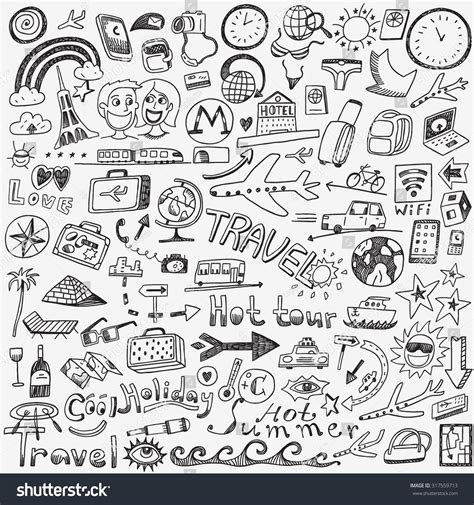 travel doodle free vector travel doodles sketch icons stock vector 317559713
