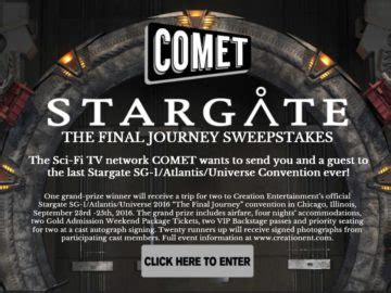 Sweepstakes Convention - comet tv stargate convention sweepstakes