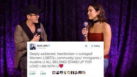 donald trump new rules dua lipa dua lipa tweeted her feelings about trump video kiss 92 5