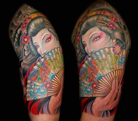 japanese fan tattoo japanese geisha shoulder