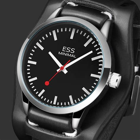 ess black mens sport quartz analog leather wrist stainless steel band ebay
