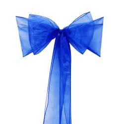 Wedding Chair Bows Sashes Chair Bows Royal Blue Organza Sash For Wedding And Events Supplies Party Decoration With