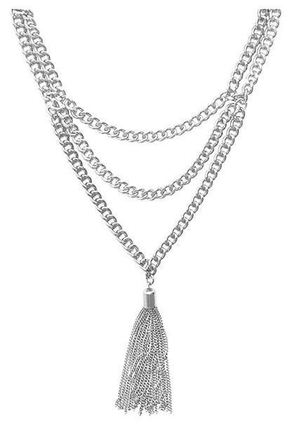 Tasseled Layered Bracelet chain tassel layered necklace in silver intuitive
