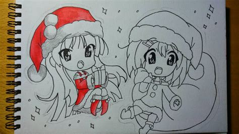 anime chibi navidad dibujos gamers y otakus dibujo navidad chibi de mio y yui