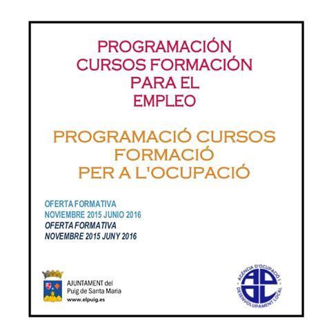 programa de trabajo para el curso 2015 2016 programa formativo 2015 2016