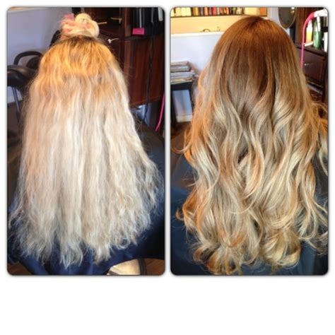 lowlighting hair after all over bleach bleach blonde to natural ombr 233 by julie acosta yelp