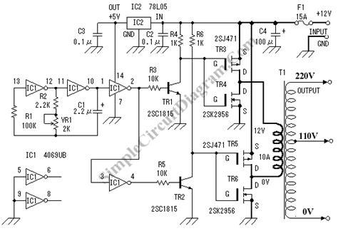 dc to ac inverter simple circuit diagram