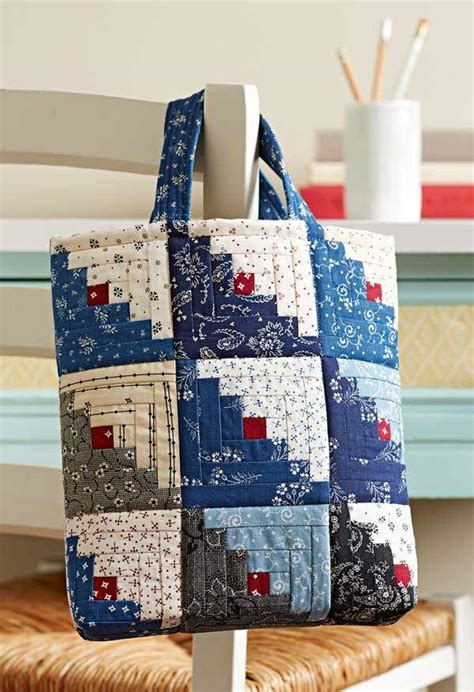 How To Make A Quilt Tote Bag by Mini Log Cabin Blocks Make A Charming Bag Quilting Digest