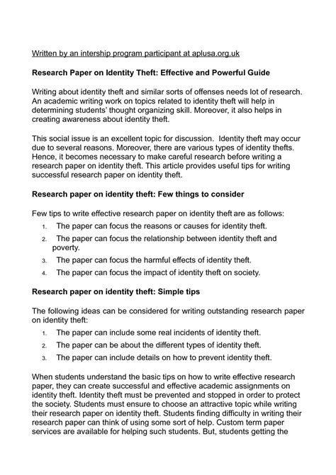identity theft research paper calam 233 o research paper on identity theft effective and
