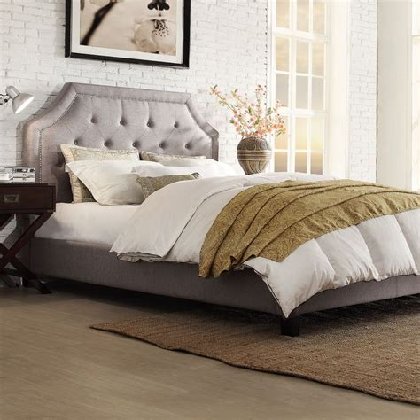 grace queen size button tufted arched bridge upholstered bed  inspire  bold  house
