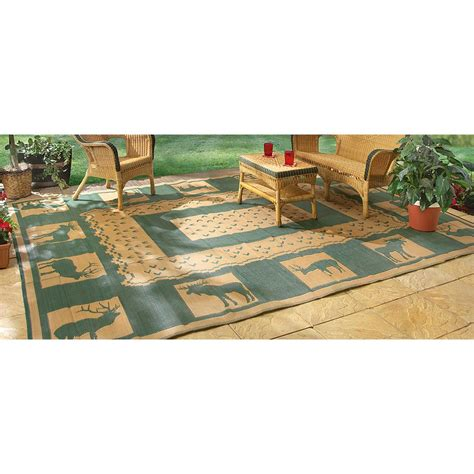 Guide Gear 6x9 Reversible Lodge Patio Mat Khaki Hunter Outdoor Rugs And Mats