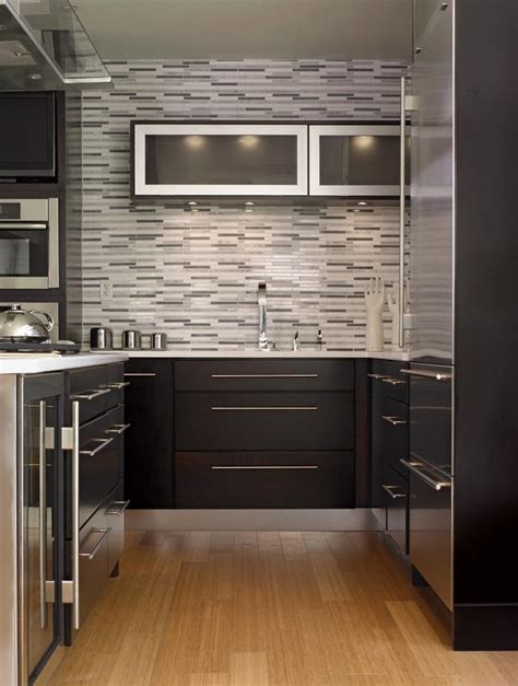 black tile backsplash kitchen with above