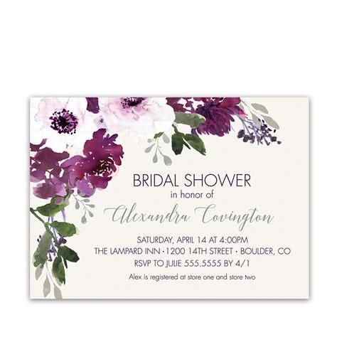 purple plum watercolor floral bridal shower invitations watercolor