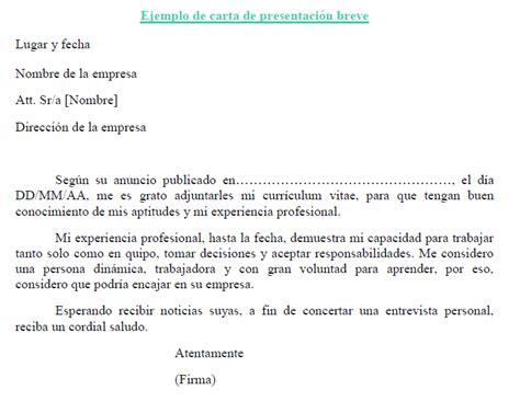 carta formal breve ejemplo de carta de presentaci 243 n breve plantilla de carta