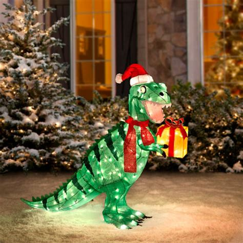 lighted dinosaur christmas decoration pre lit animated tinsel t rex dinosaur yard decoration billingsblessingbags org