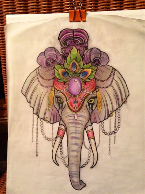 elephant tattoo neo traditional neo traditional circus elephant tattoo design artsy