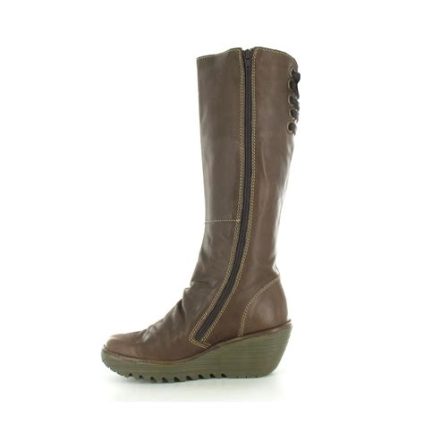 fly yust womens leather wedge heel boots in