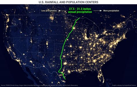 nighttime map of us us rainfall and population centers geopolitical futures