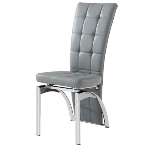 Ravenna Dining Chair In Grey Faux Leather With Chrome Base Gray Leather Dining Chairs
