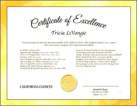 certificate of excellence template download sle templates