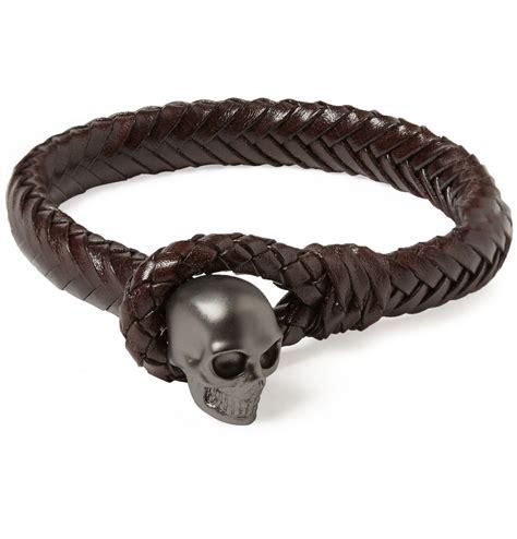 Skull Woven Bracelet mcqueen metal skull and woven leather bracelet