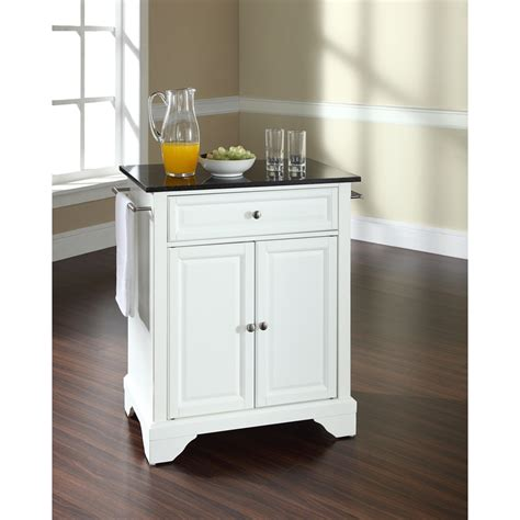 White Kitchen Island With Granite Top Lafayette Solid Black Granite Top Portable Kitchen Island White Dcg Stores