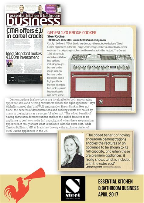 essential kitchen bathroom business press release april may 2017 steel cucine