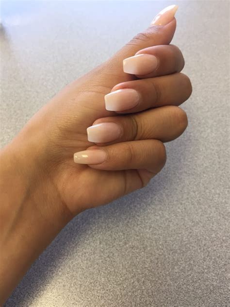 lotus nail and spa coffin nails w light pink done by yelp