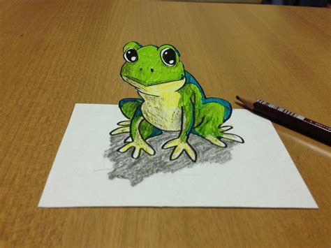 How To Make A 3d Frog Out Of Paper - tricks how i draw a 3d frog anamorphic illusion