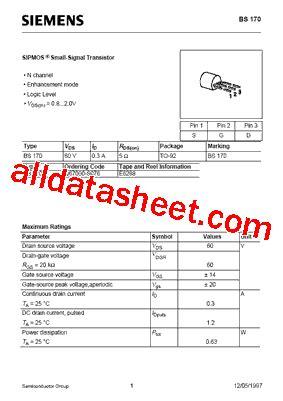 transistor bs170 datasheet bs170 datasheet pdf siemens semiconductor