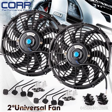 chion radiator electric fan 2x 12 quot inch universal slim fan push pull electric radiator