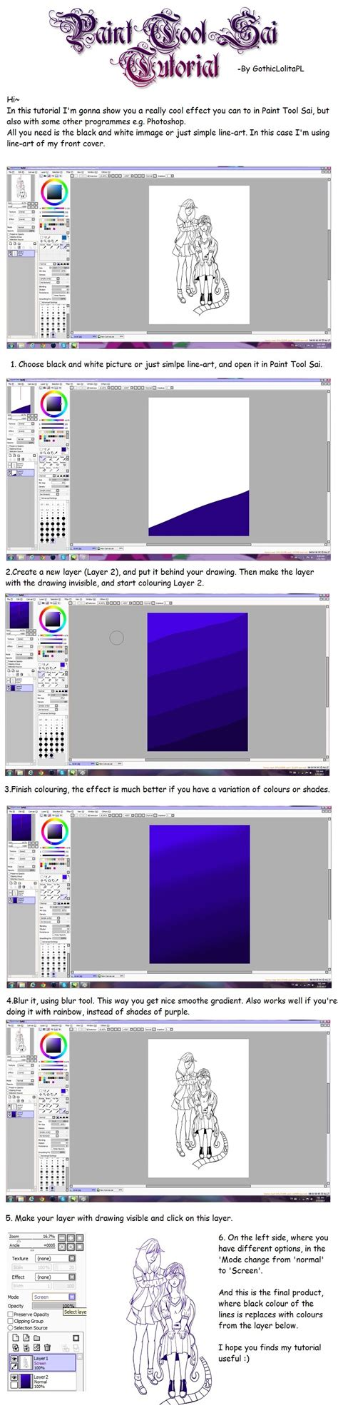 paint tool sai watercolor effect paint tool sai tutorial awesome effect by gothiclolitapl