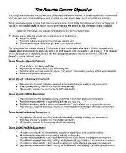 Career Objective On A Resume by Resume Objectives Sle 9 Exles In Word Pdf