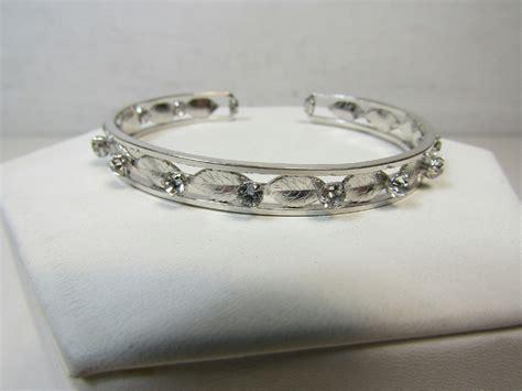 vintage krementz jewelry silver tone cuff bracelet sparkle
